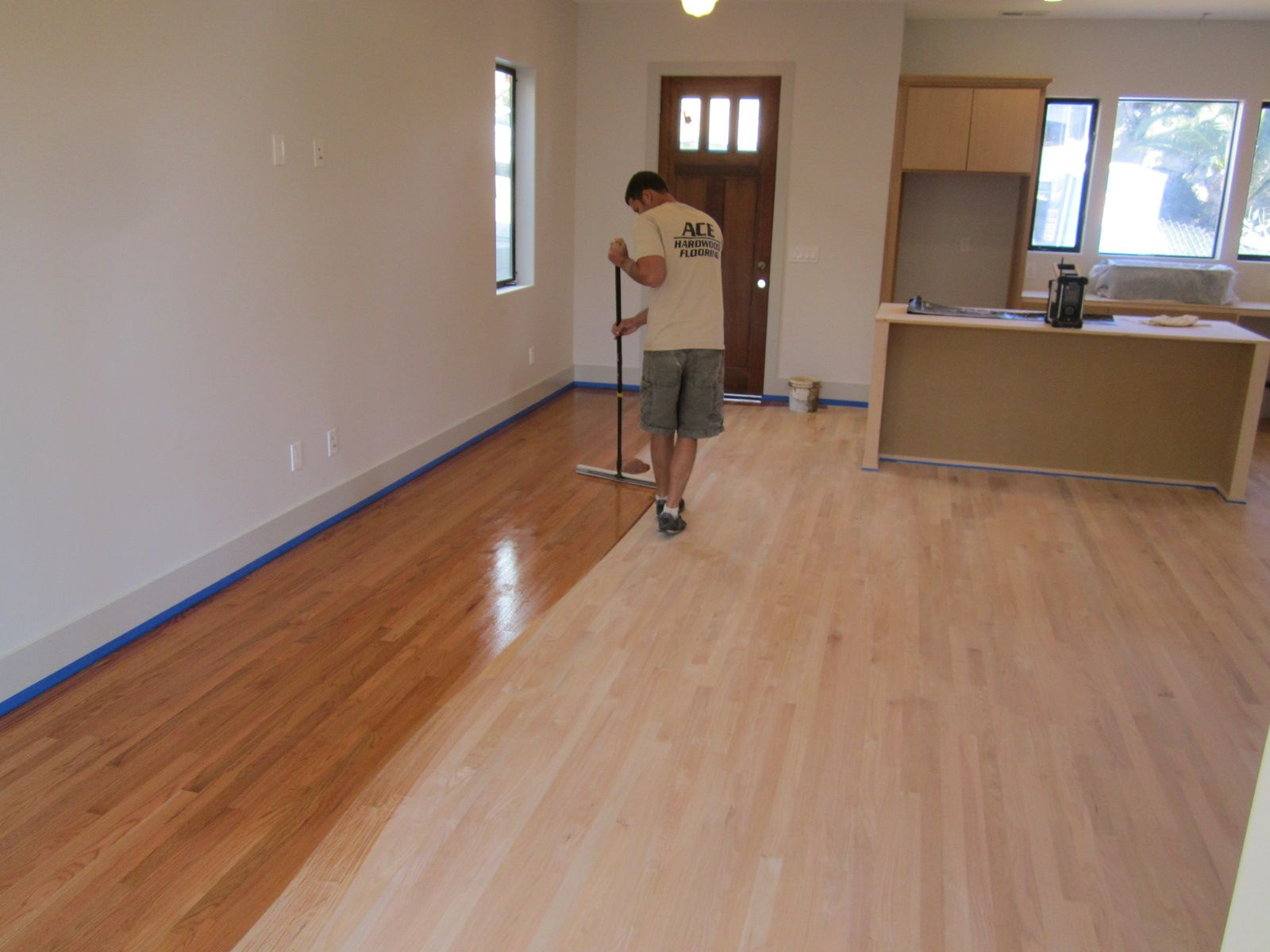 Golden Pecan hardwood floor stain on red oak flooring