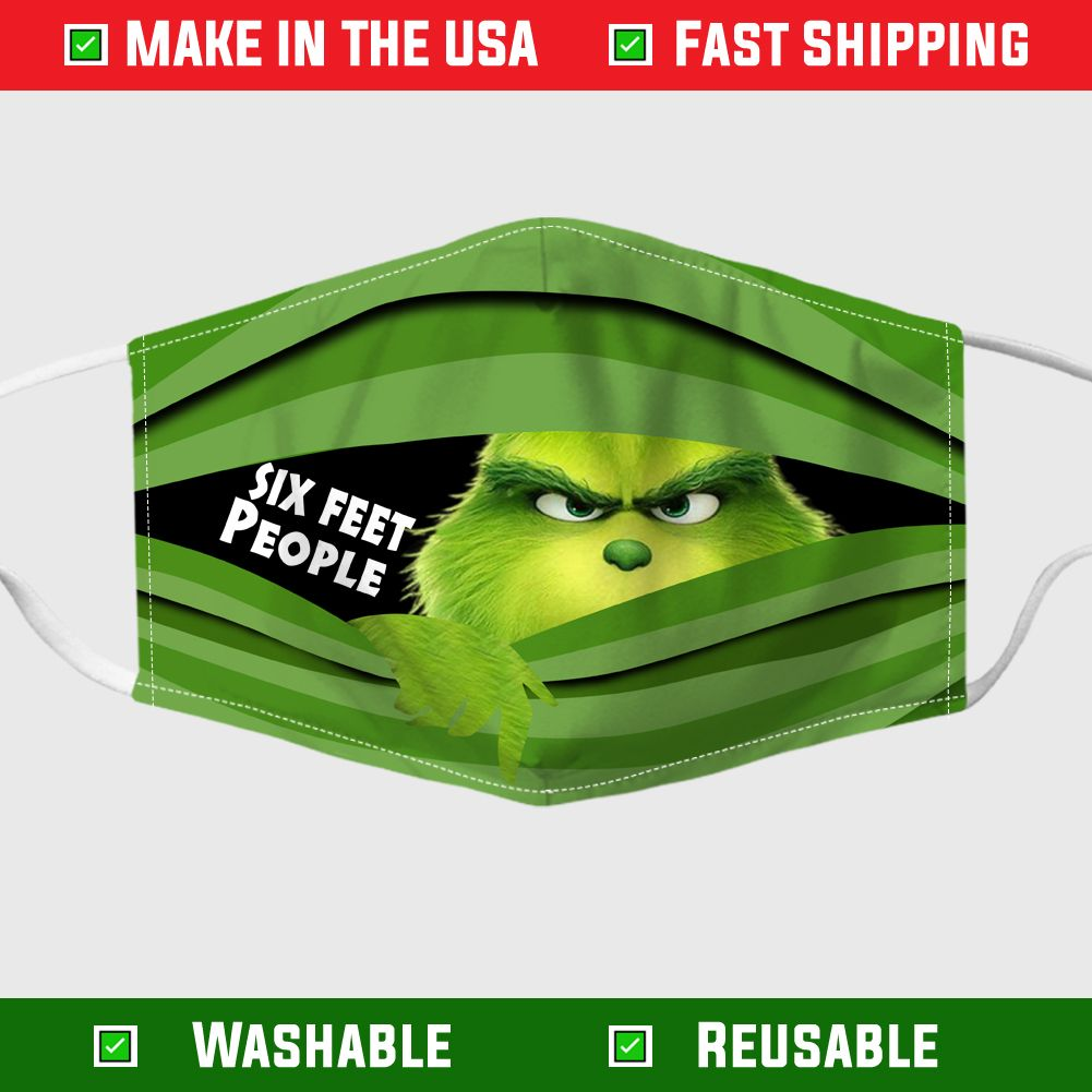 Grinch Six Feet People Face Mask In 2020 Grinch Mask Face Mask Funny Mask