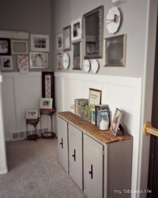 My Fabuless Life: Old Kitchen Cabinet Turned Console Table ...