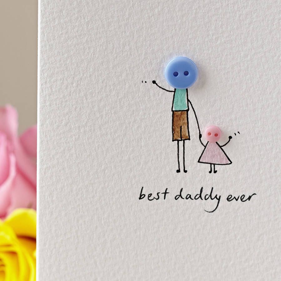 Personalised Button Daddy Hand Illustrated Card