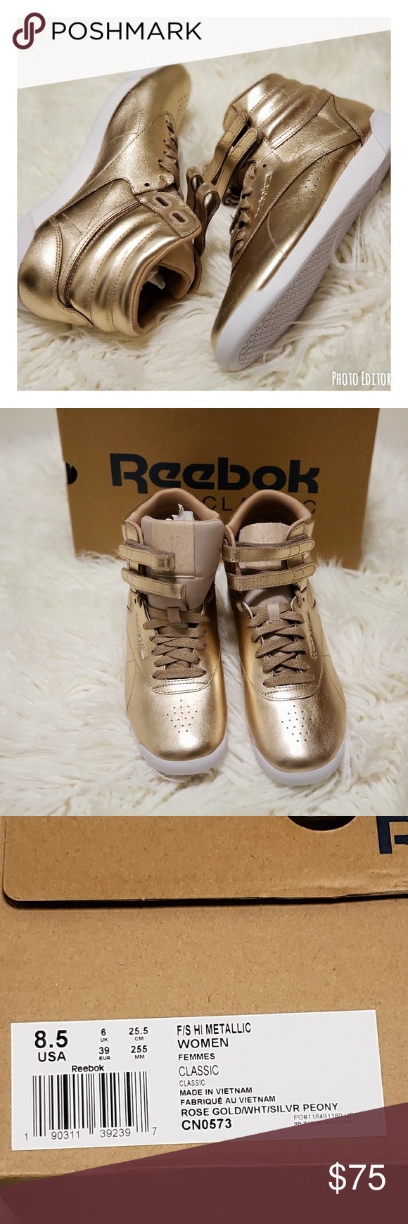 f2cbab06038 Reebok Freestyle Hi Metallic (CN0573) Never worn!!! Available in a  brilliant gold colorway