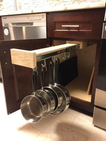 Slide Out Pot Rack | Slide out shelves, Kitchen pantry ...