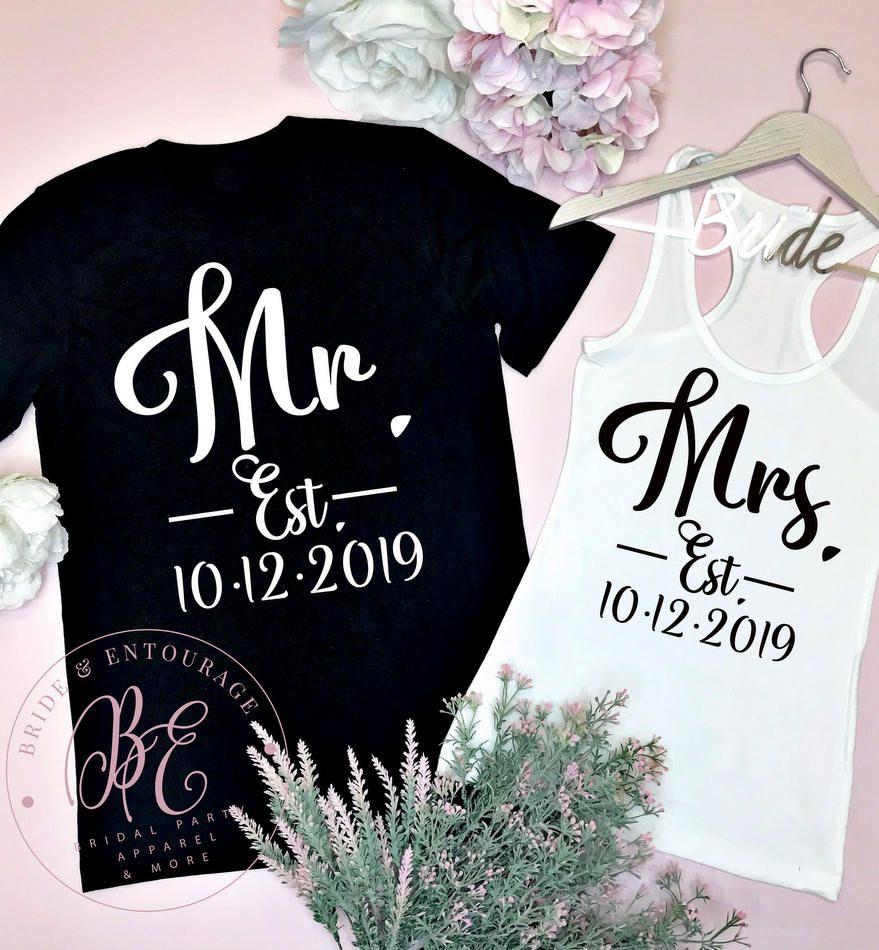 MR /& MRS Matching T-Shirts Just Married Cute Romance Gift Wedding Honeymoon 12