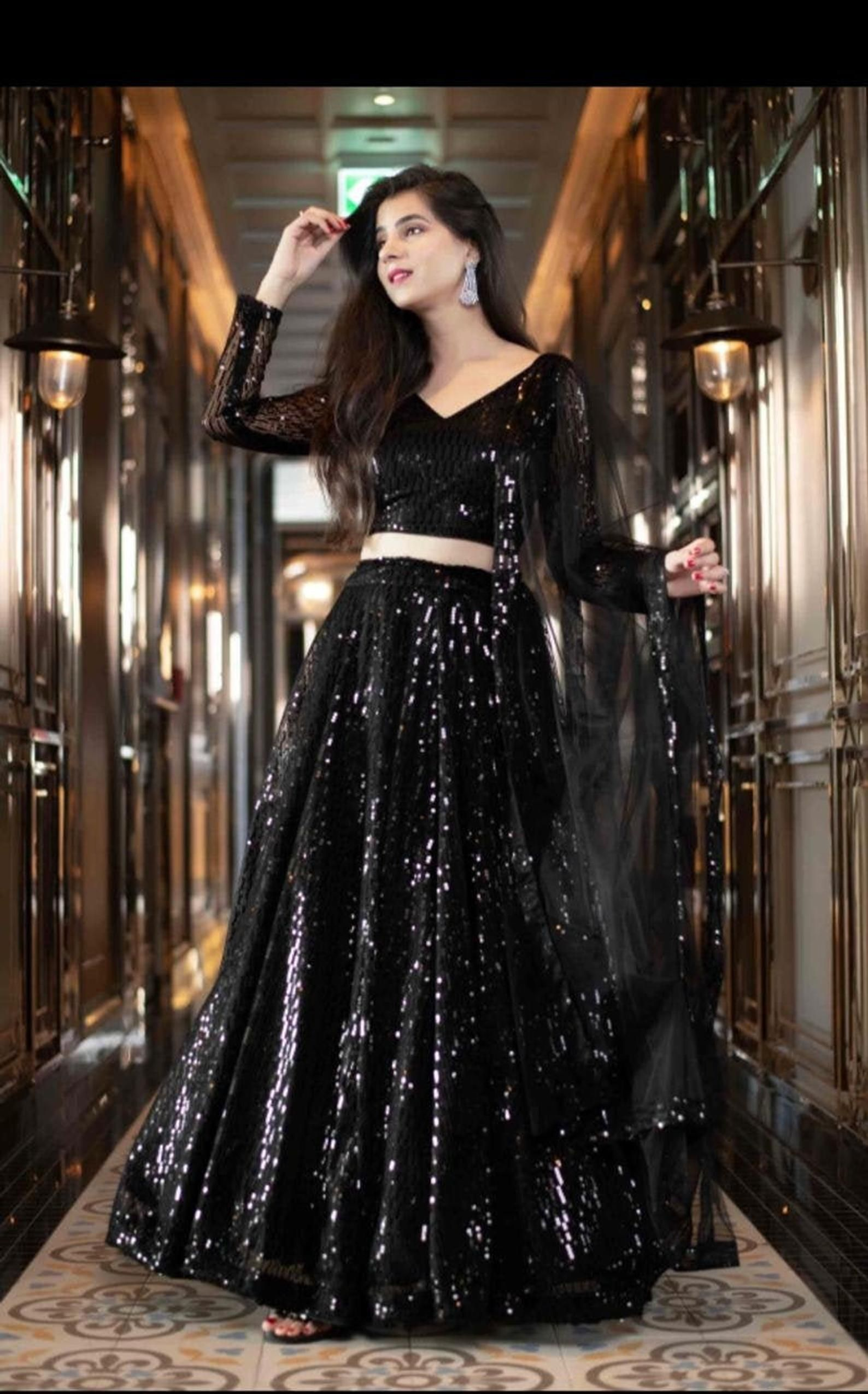 Black Lengha Choli Heavy Sequins Designer Skirt In
