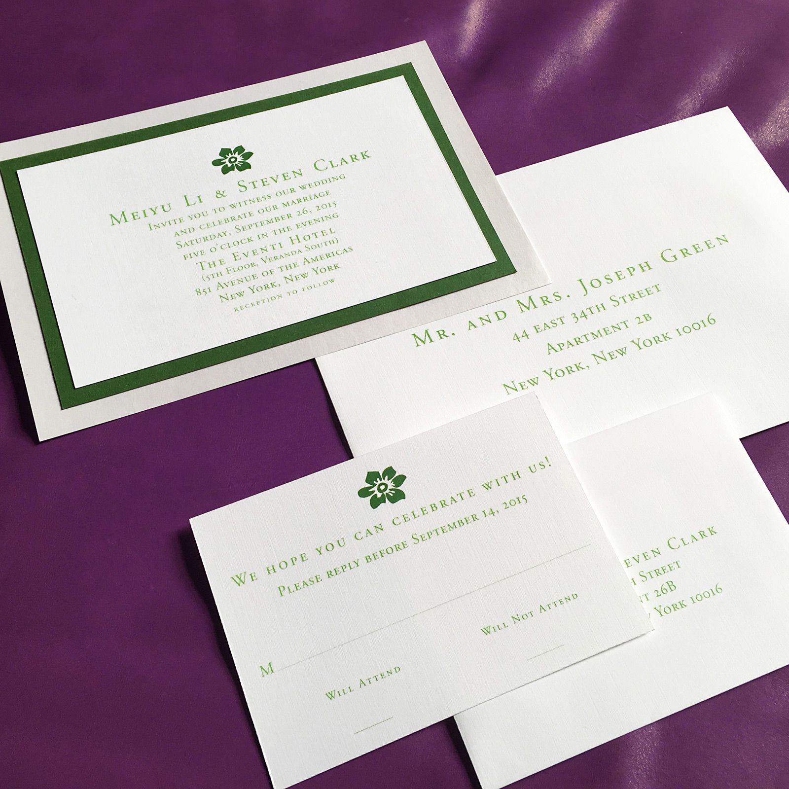 three layer wedding invitation, white and green metallic paper ...