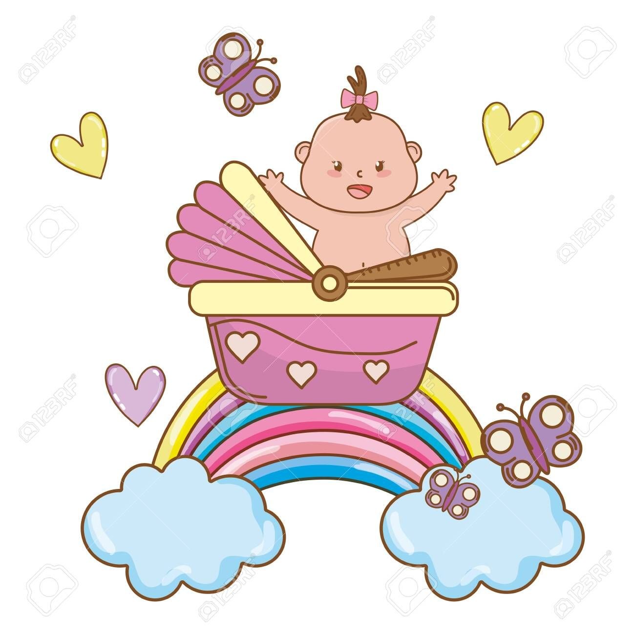 cute baby shower baby with babycare elements cartoon