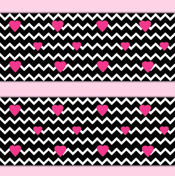BLACK CHEVRON WALLPAPER Wall Border Decal Hot Pink Heart Teen Girl Bedroom  Baby Nursery Childrens Room. BLACK CHEVRON WALLPAPER Wall Border Decal Hot Pink Heart Teen Girl