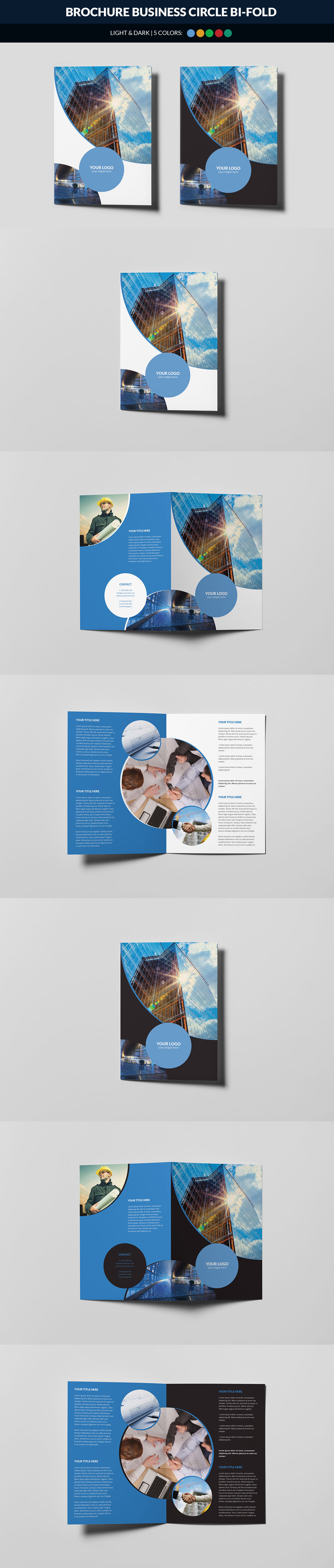 business circle bi fold brochure template psd unlimited downloads