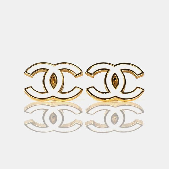 Designer Inspired Chanel 18k Gold Earrings Classic Cc