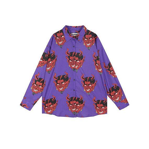578096801 Devil Hawaiian Shirt, Vintage Pattern Button Down, Pink Purple Unisex  Button Up Shirt, Novelty Print Top Short Sleeve Shirt, Vacation Shirt in  2019 ...