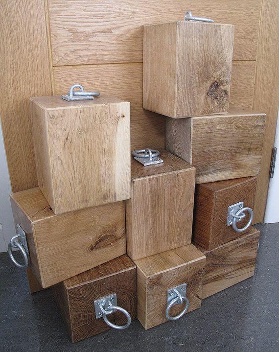 Solid Natural Oak Door Stop With Industrial Fitting. Heavy Wooden Door Stop.  Oak Block Doorstop With Metal Ring Handle | Oak Doors, Industrial And Doors