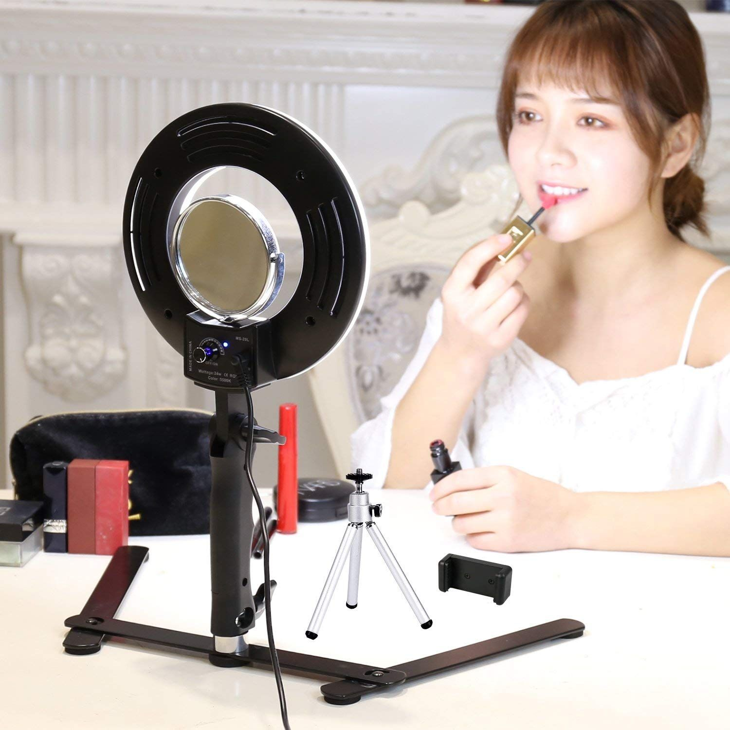 Table Top Led Selfie Ring Light For Makeup 8 Inch Dimmable 24w 5500k O Circular Beauty Lamp With Selfie Ring Light Ring Light For Makeup Led Selfie Ring Light