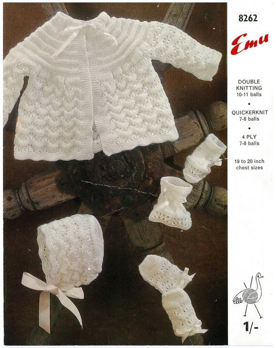 b11c508637ed Baby matinee set jacket bonnet mits and bootees beautiful vintage ...