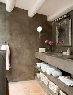 Inspiratie voor een betoncire, mortex of tadelakt badkamer ...