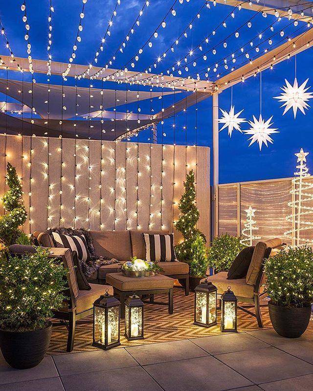 Outdoor Christmas lights make holiday magic ✨ Use versatile string