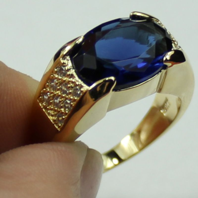 Classic-Men-s-10KT-Yellow-Gold-Filled-Blue-Sapphire-Crystal-CZ ...