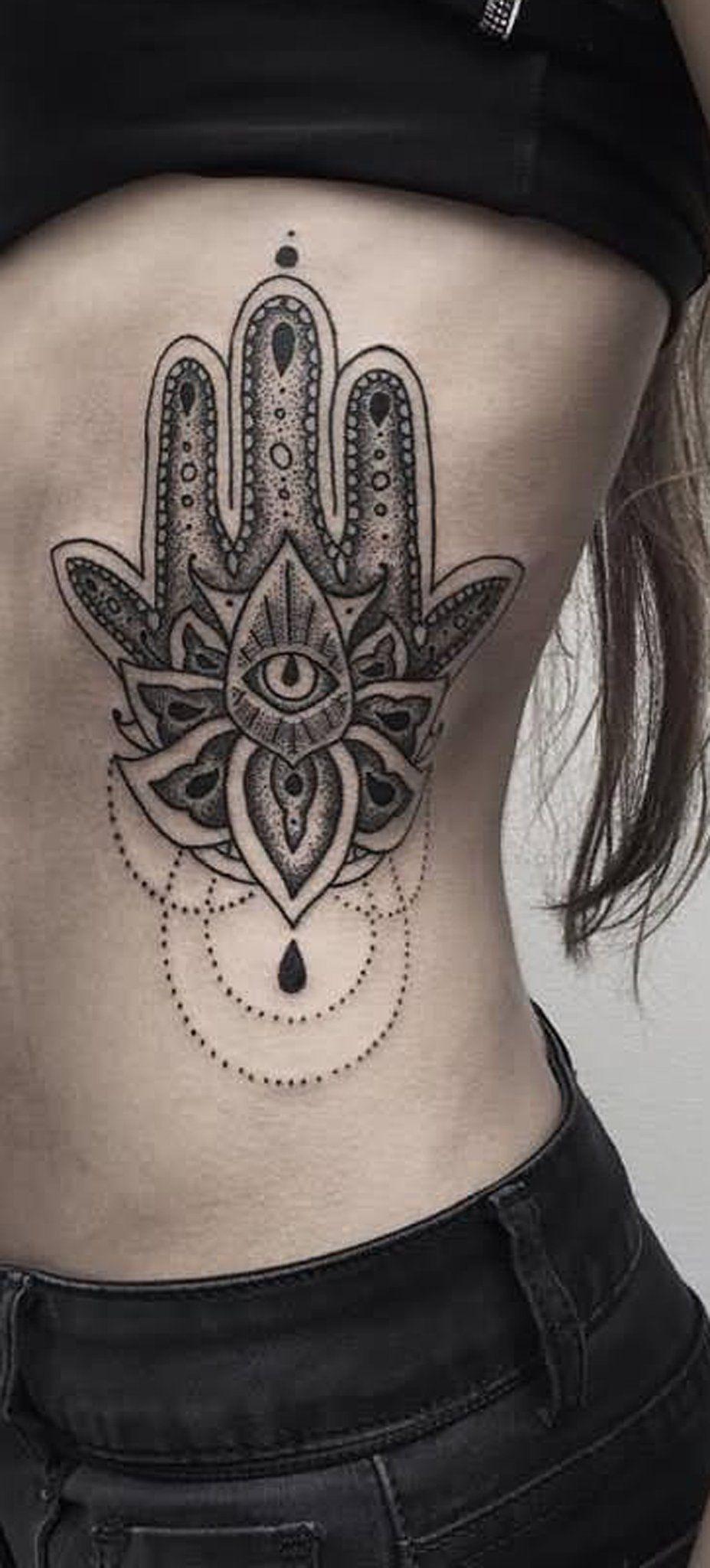 Hamsa Hand Rib Tattoo Ideas For Women Evil Eve Hand Chandelier