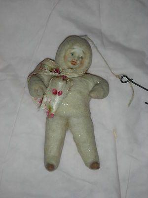 3 1 2 Antique Spun Cotton Bisque Head Snow Baby Doll Christmas