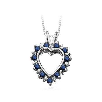 V bale diamond and sapphire heart pendant in white gold aloadofball Gallery
