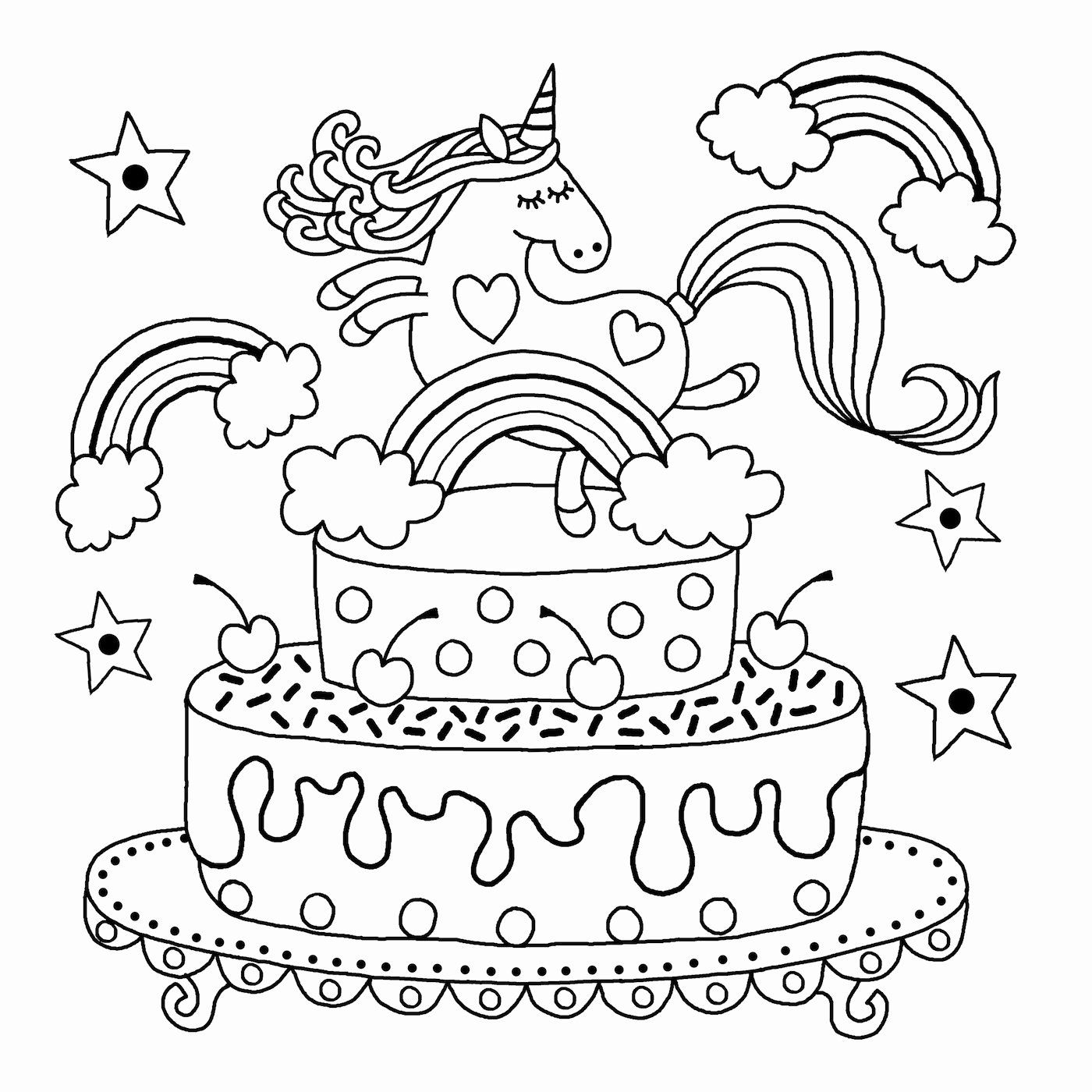 Coloring Pages Unicorn Cake Pics