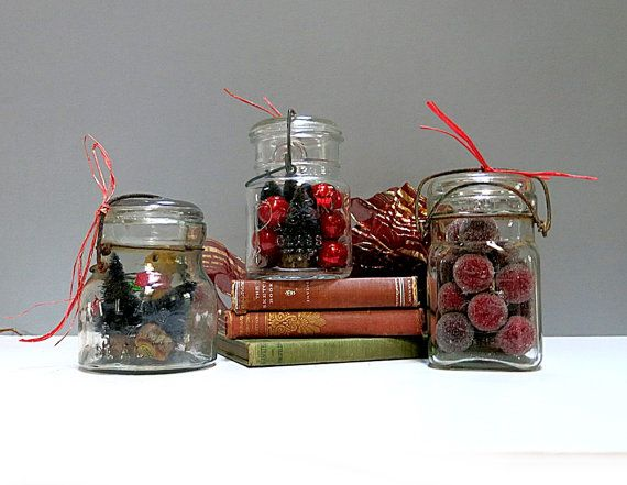 Set of 3 Mason Jars with Glass Lids Queen Atlas by CoconutRoad ***ALSO SEE Vintage Jewelry at: http://MyClassicJewelry.com/shop