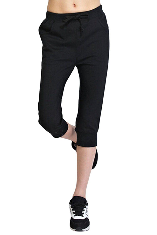 Cocoleggings Womens Drawstring Cuffed Cotton Harem Pants Capri Joggers Review More Details Here Plus Size Activ Jogging Leggings Pants Plus Size Activewear