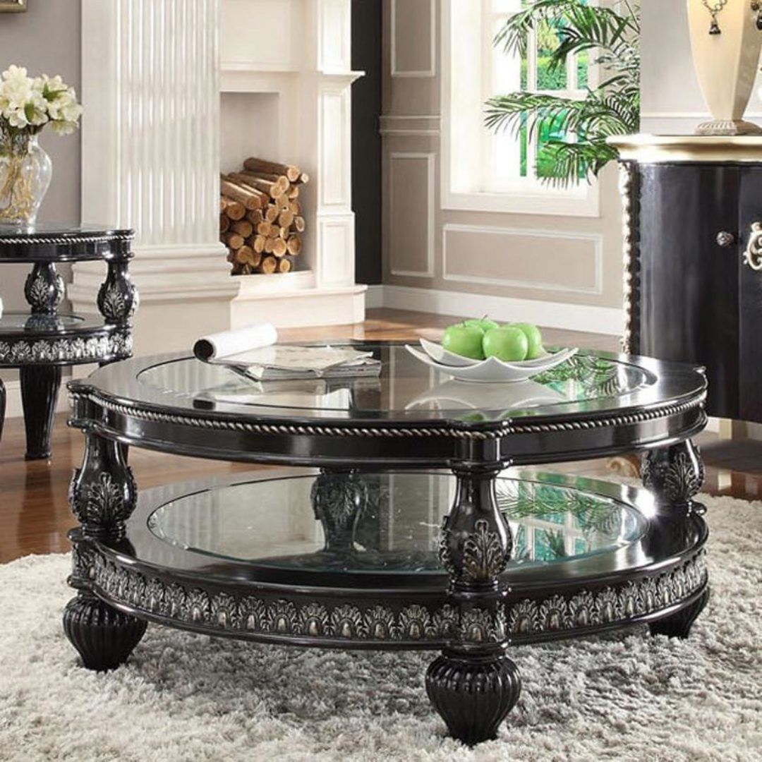 Black Enamel Silver Coffee Table Traditional Homey Design Hd 1208 Hd C1208 Silver Coffee Table Traditional Coffee Table Coffee Table