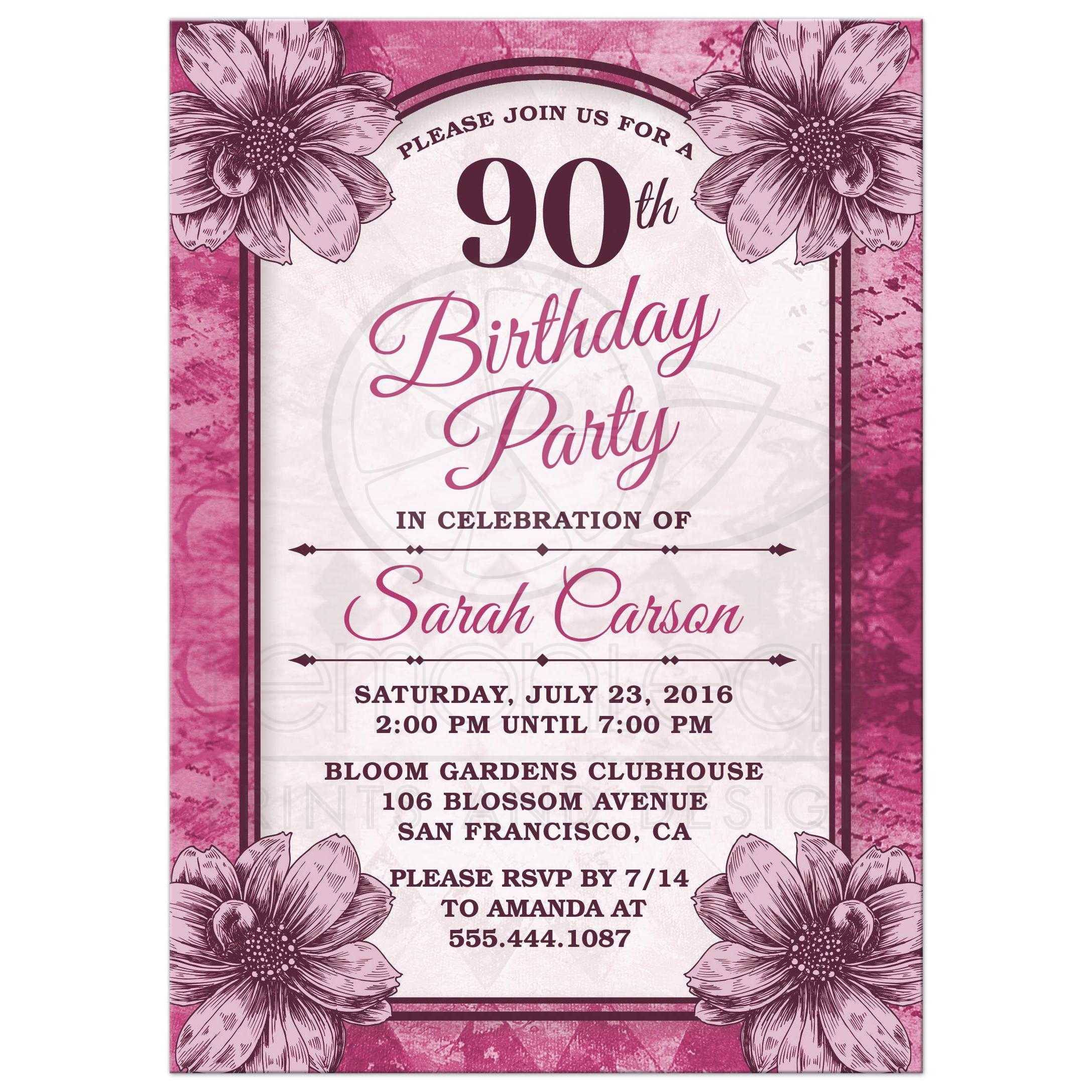 90th Birthday Party Invitations Templates Free | Party ...