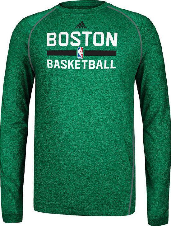Boston Celtics Heather Green Climalite Practice Long Sleeve Shirt by Adidas   37.95 e99fbf063
