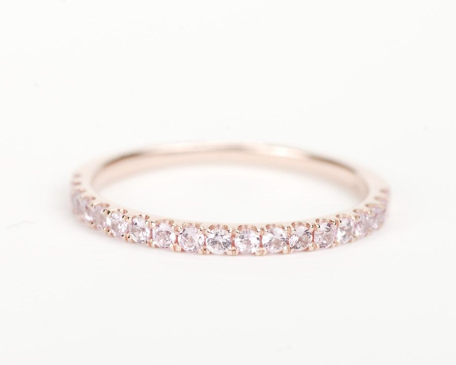 Light Pink Sapphire 14k Rose Gold Wedding Band Gemstone Wedding Bands Gold Diamond Wedding Band Gold Wedding Band