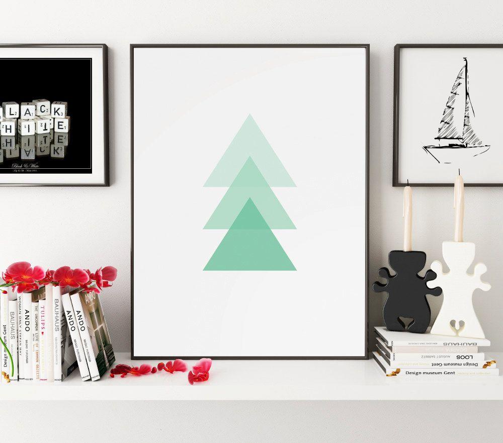 Triangle print geometric print green mint art geometric art