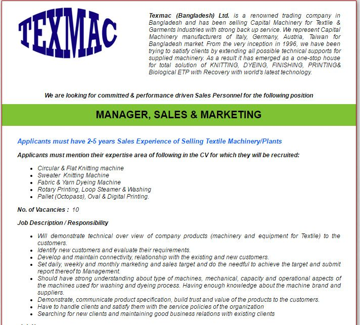 Texmac Bangladesh Ltd Manager Sales  Marketing Job Circular