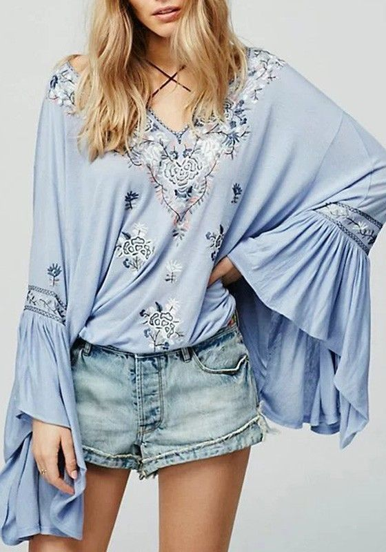 Sky Blue Floral Embroidery Pleated Irregular Drawstring V-neck Bell Sleeve National Blouse