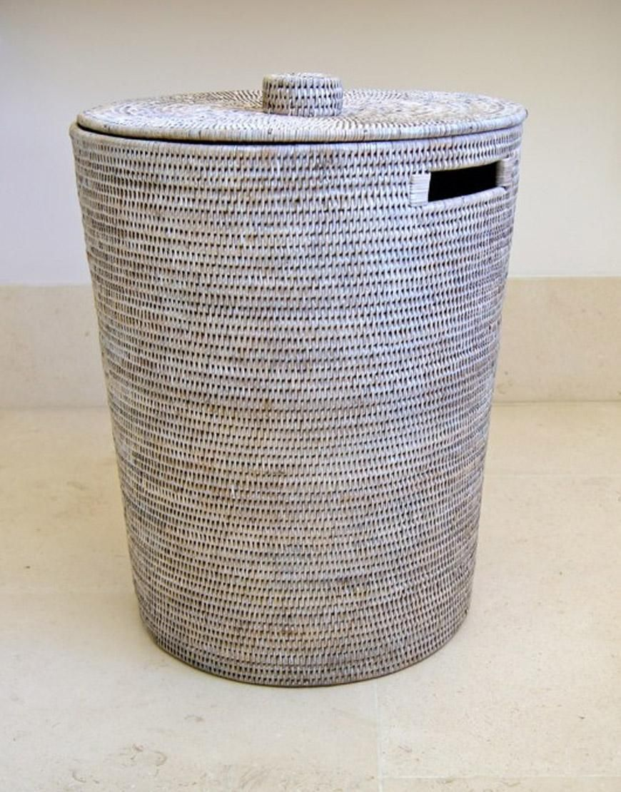 White Washed Rattan Laundry Hamper With Lid Laundry Basket With