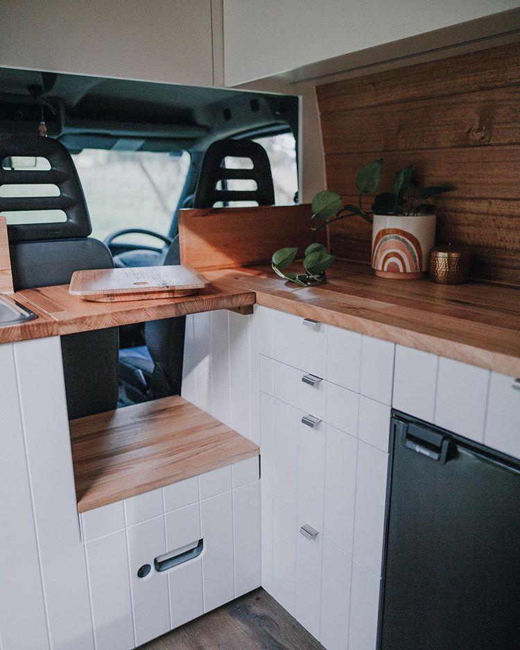 """Photo of Peachwood Co. on Instagram: """"Kitchen on wheels • • • • • •  #vanconversion #vanlife #vanlifediaries #campervan #travel #adventure #homeiswhereyouparkit #vanlifers…"""""""
