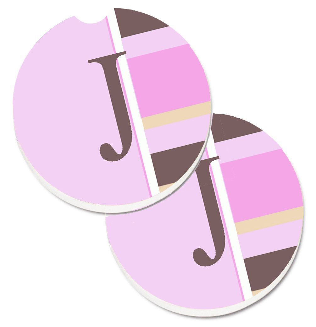 Letter J Initial Monogram - Pink Stripes Set of 2 Cup Holder Car ...