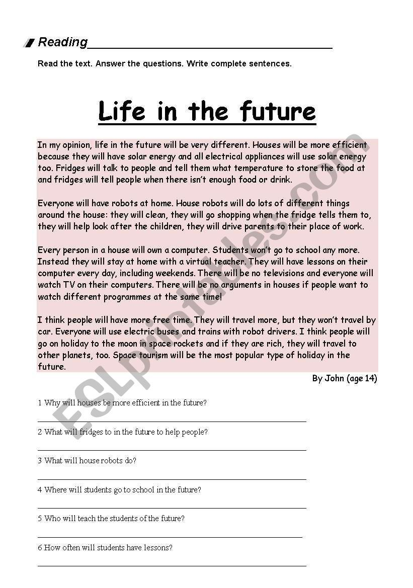 This Is A Reading Comprehension About Life In The Future Students Have To Reading Comprehension Reading Comprehension Lessons Reading Comprehension Worksheets [ 1169 x 821 Pixel ]
