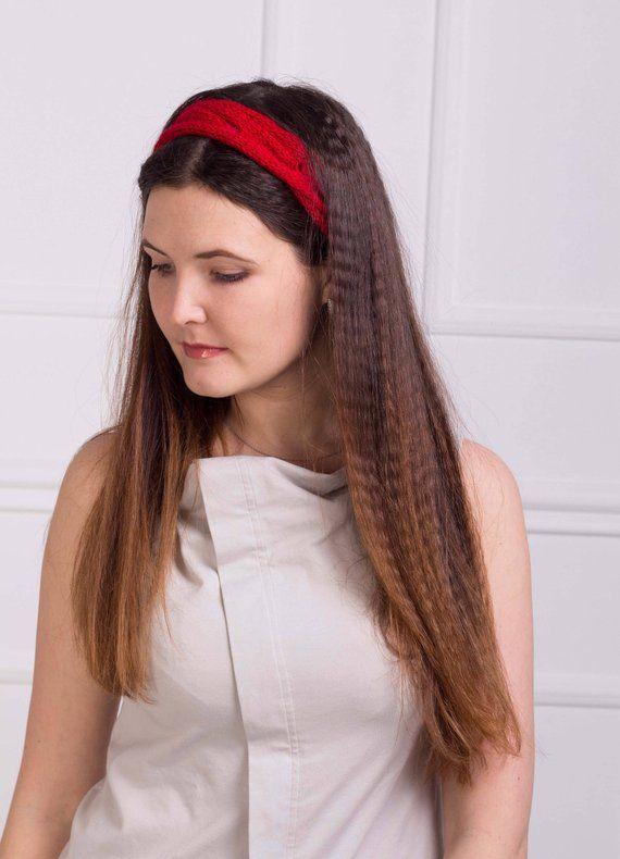 Women red headband Knit summer cable hair band Hippie head wrap Transformer  crochet jewelry Teen gir 4e648045cfd