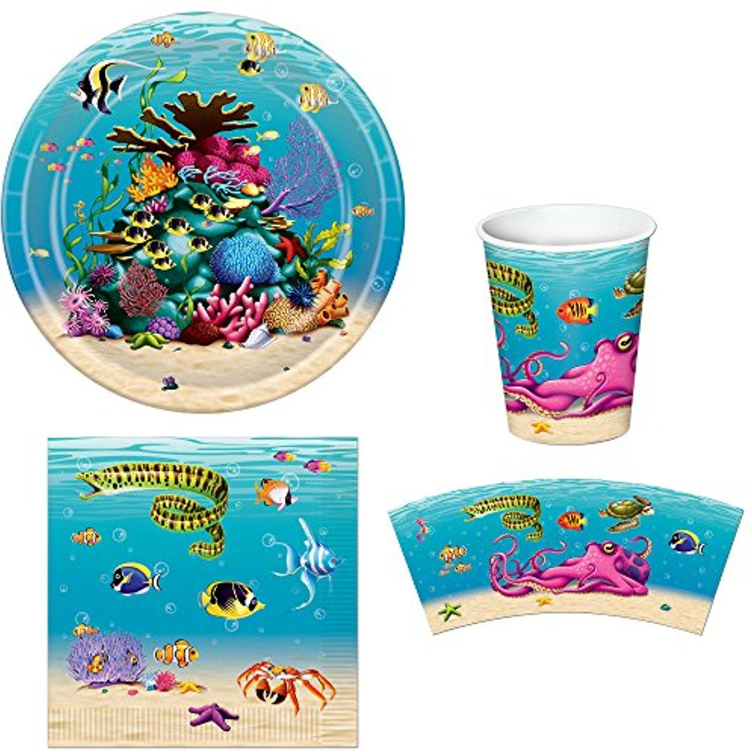 Under The Sea Party Bundle For 16 Plates Napkins And Cups