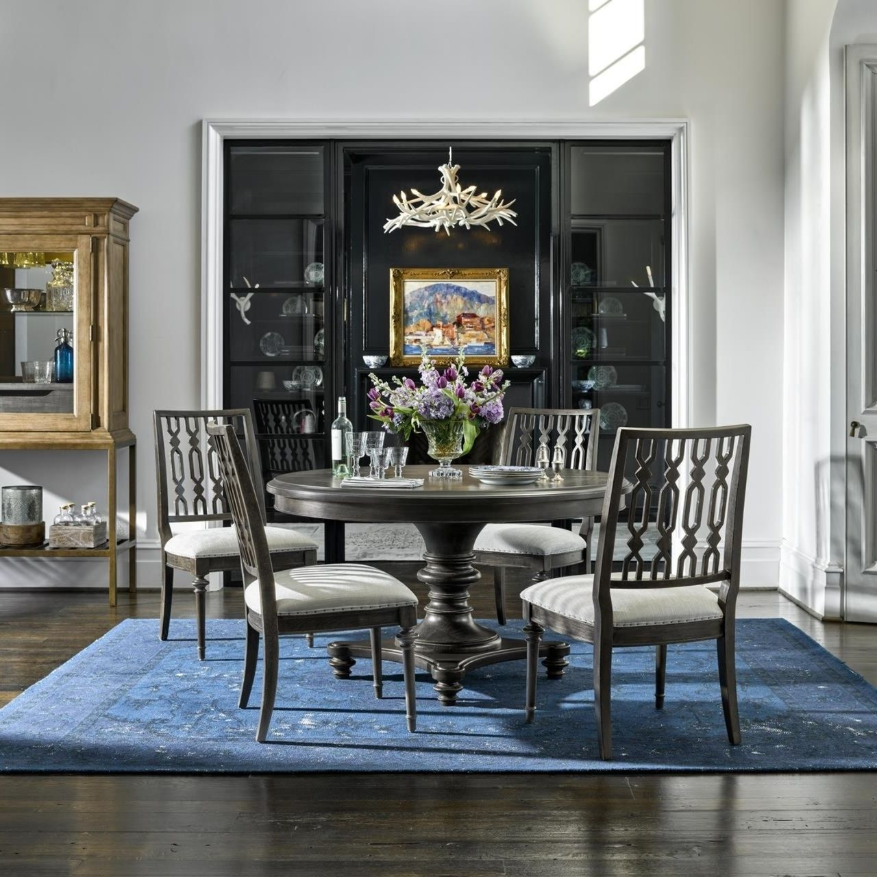 French maison dark wood expandable round dining table 54 zin home