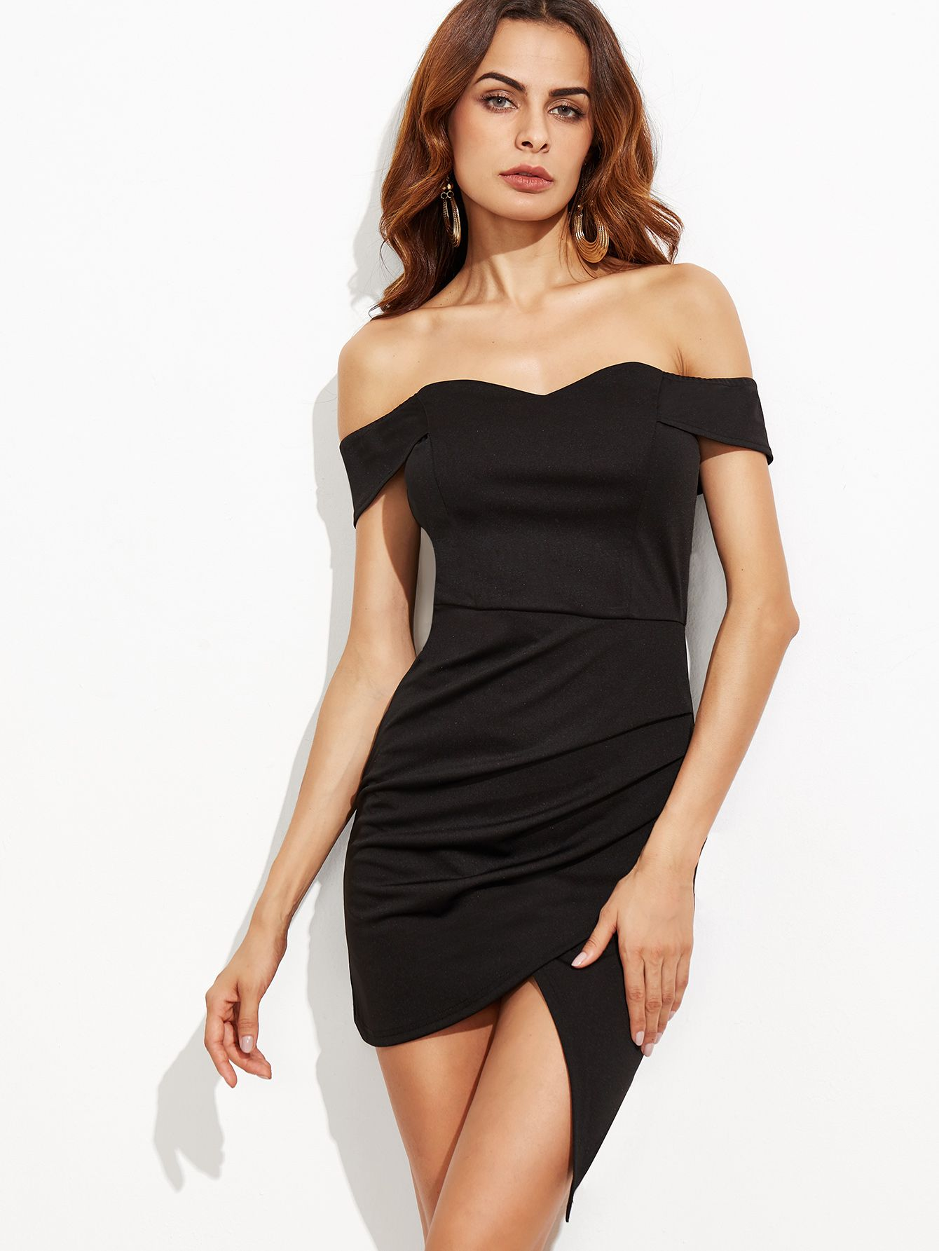 Black Off The Shoulder Ruched Wrap Dress  86cdf8c7d2b6
