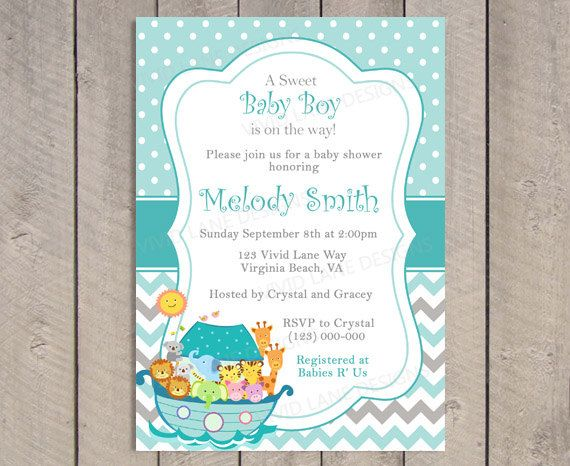 Noahu0027s Ark Baby Shower Invitation Teal And By VividLaneDesigns