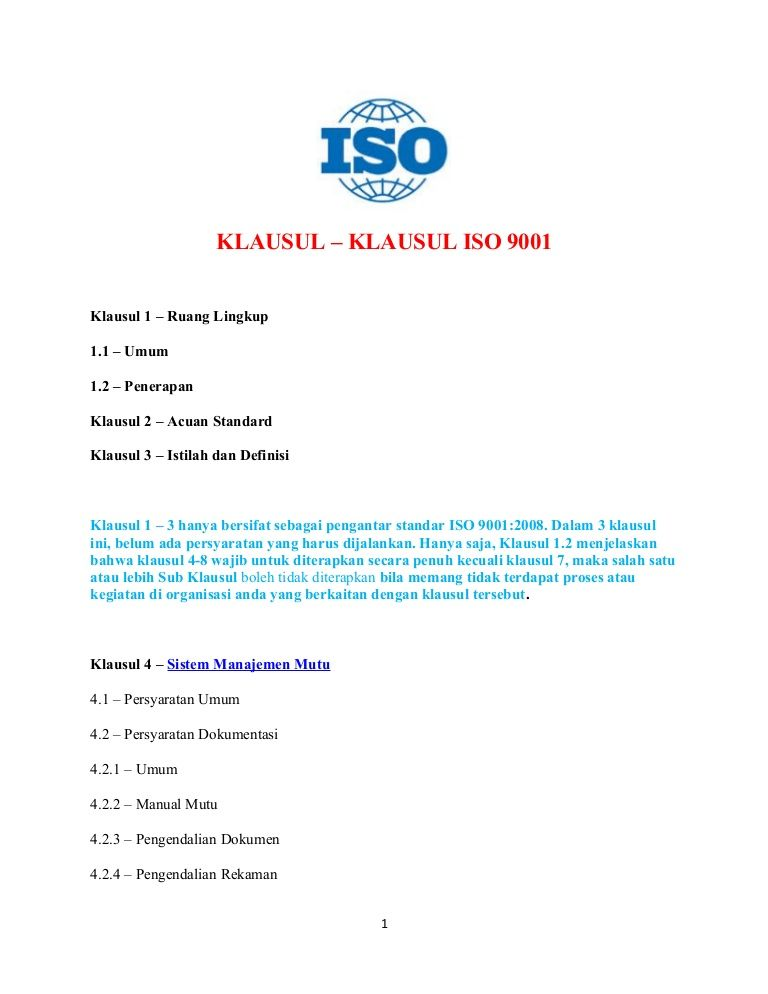 klosule-iso-9000 by Haliamsah Purba via Slideshare any company for