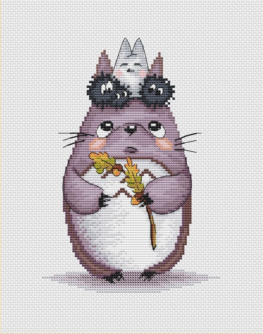 Totoro Cross Stitch Pattern PDF Instant Download Autumn Embroidery ...