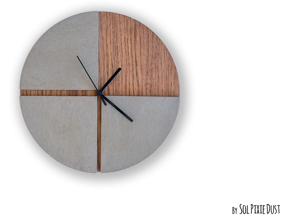 Three Quarters Concrete Circle With Wooden Hole Wall Clock Etsy Wall Clock Modern Large Wall Clock Modern Wall Clock
