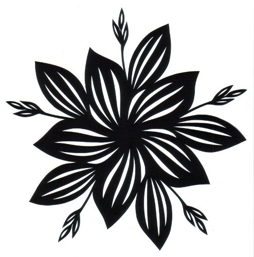 cut paper design five-fold hosta