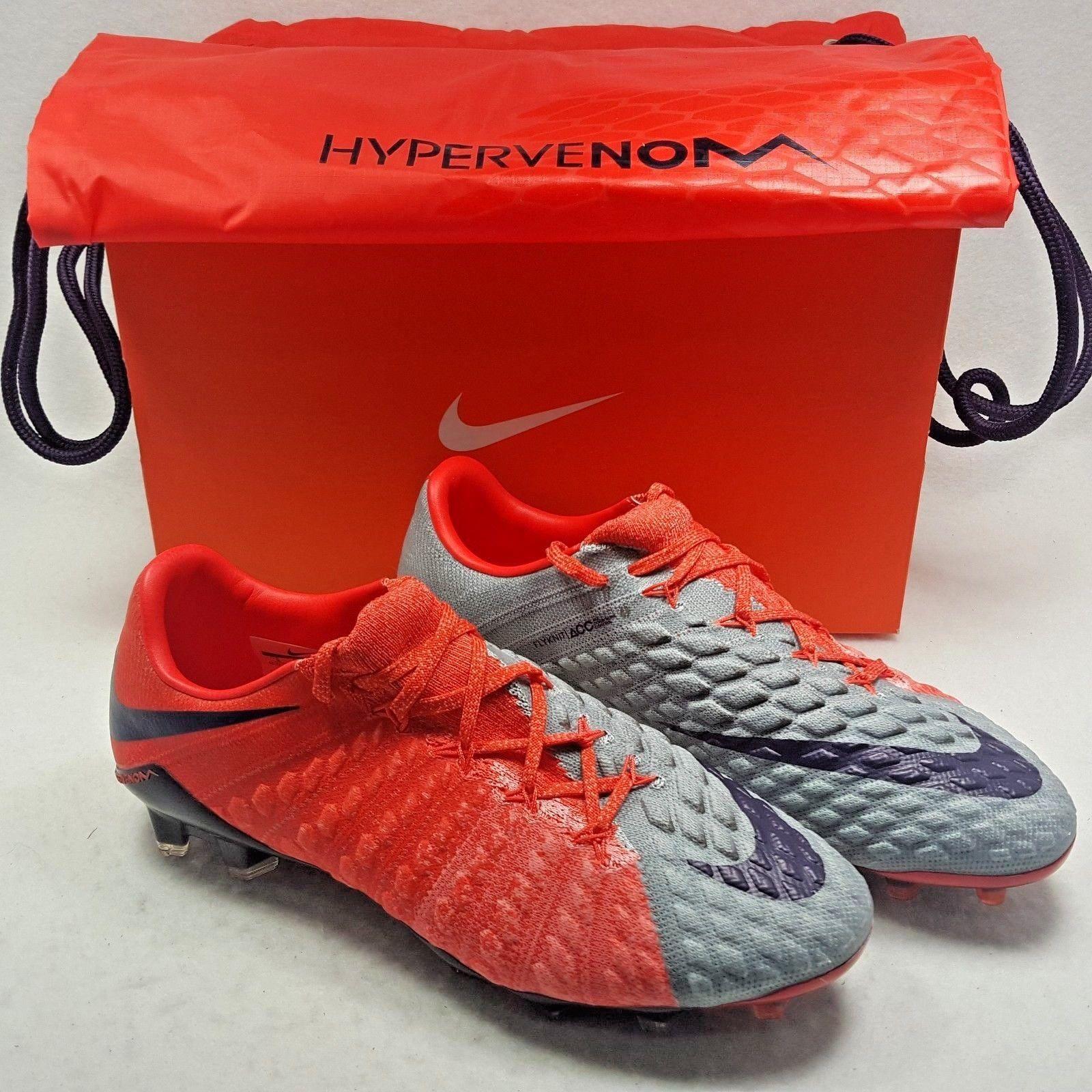 d936d70410fe Nike Hypervenom Phantom III FG Flyknit Soccer Cleats Women Size 8 grey red  ACC