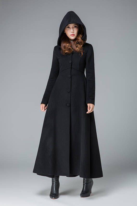 wholesale dealer 6381d acfc1 schwarzer Mantel Wollmantel Kleid Kapuzen-Mantel lange ...