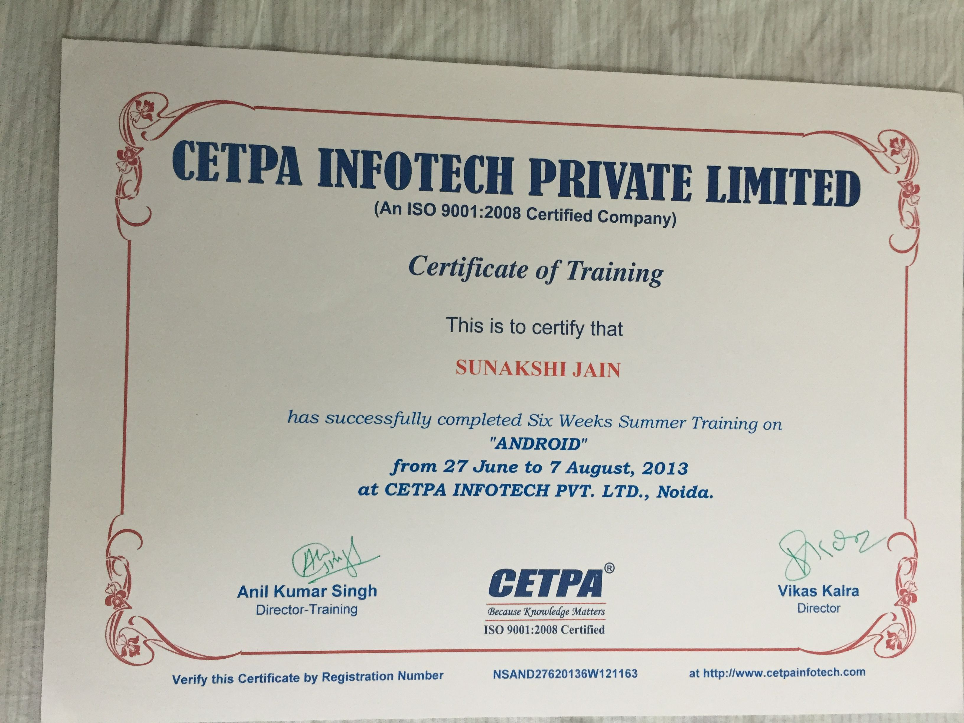 Certificate For Having Completed The Android Training Course