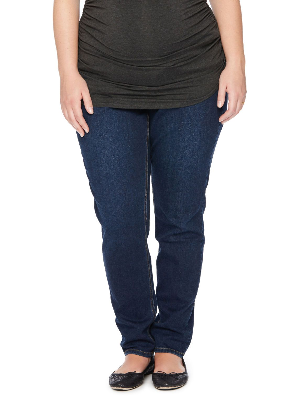0150a5e459d82 Plus size Secret Fit Belly 5 pocket skinny leg maternity jeans by Jessica  Simpson available at Destination Maternity